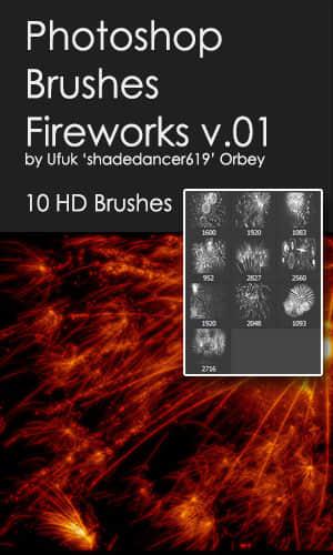 10种高清烟花、绽放的烟火效果Photoshop笔刷素材 烟花笔刷 烟火笔刷  flame brushes