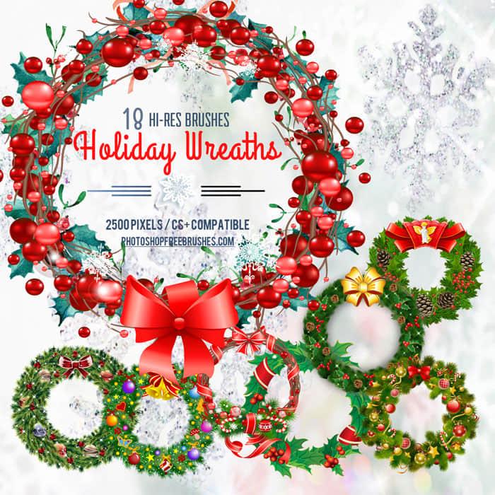 漂亮的18种圣诞节环圈、花环装饰品Photoshop笔刷素材 花环笔刷 节日笔刷 环圈笔刷 圣诞节笔刷  adornment brushes