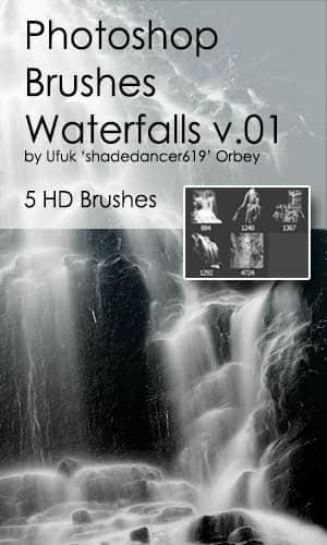 5种高清瀑布、溪流效果Photoshop笔刷 瀑布笔刷  water brushes