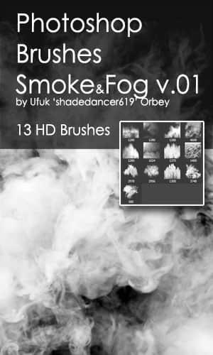 13种高清烟雾、燃烧烟尘Photoshop笔刷素材 烟雾笔刷  flame brushes