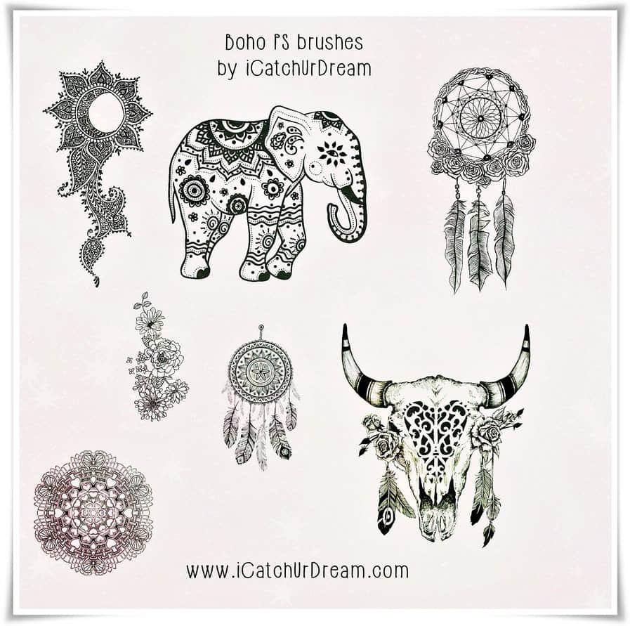 手绘小清新大象、挂嘴饰品、羊头花纹装饰品图案PS笔刷素材 羊头笔刷 植物花纹笔刷 大象笔刷  adornment brushes