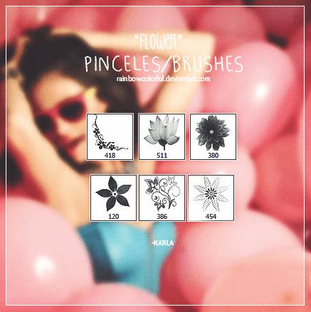 6种花纹图形Photoshop笔刷素材 花纹图形笔刷 花朵笔刷  flowers brushes