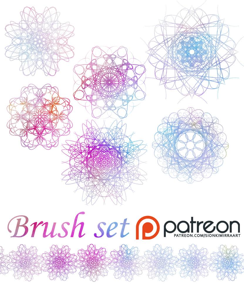 变换曲线花纹图案Photoshop笔刷素材下载 魔幻曲线花纹笔刷 变化曲线笔刷  flowers brushes