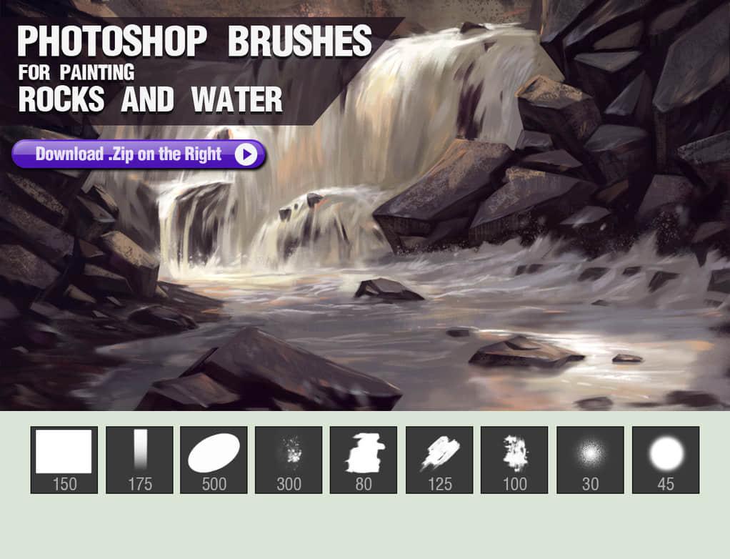 岩石和水笔触的CG插画笔刷Photoshop数字艺术绘画笔刷(含有工具预算TPL文件) 绘画笔刷 水笔触CG笔刷 插画笔刷 岩石笔刷笔刷 CG笔刷  photoshop brush