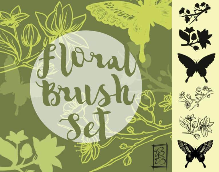 蝴蝶和树枝花纹图案Photoshop笔刷素材下载 蝴蝶笔刷 花纹笔刷  adornment brushes flowers brushes insects brushes