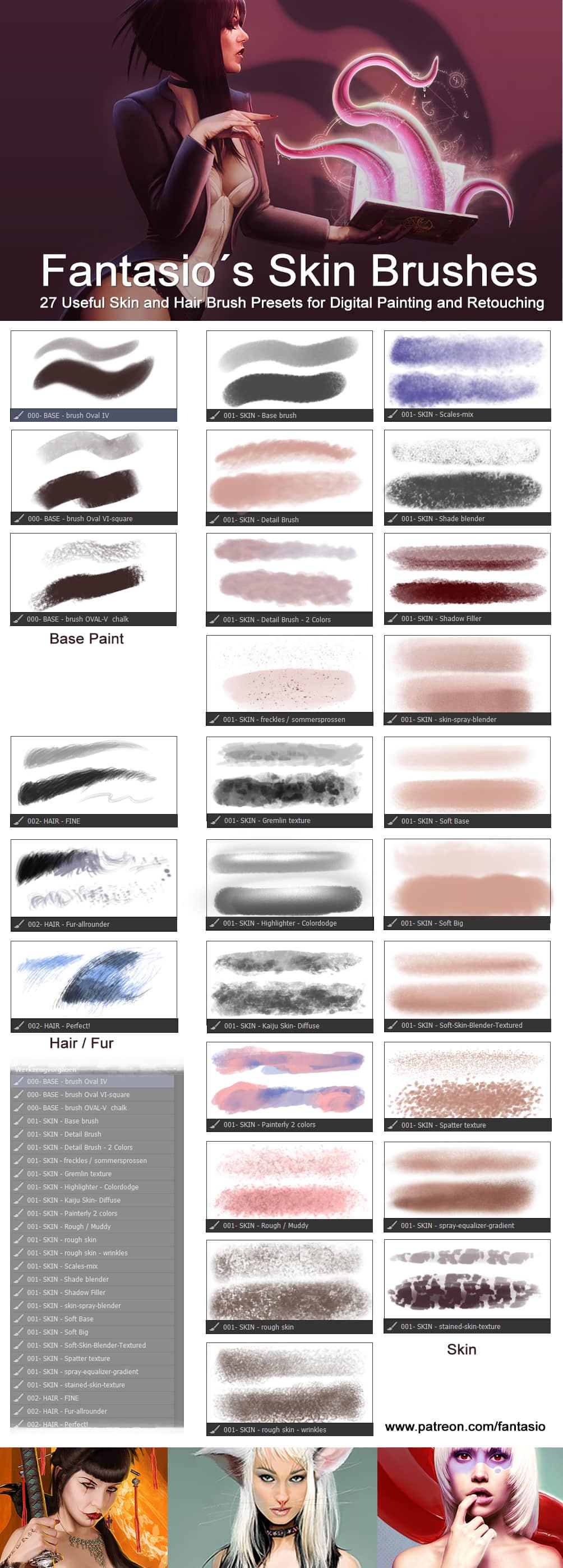 27种皮肤纹理类效果CG绘画PS工具预设TPL笔刷素材 皮肤笔刷 插画笔刷 tpl工具笔刷 CG笔刷 .tpl格式素材  photoshop brush