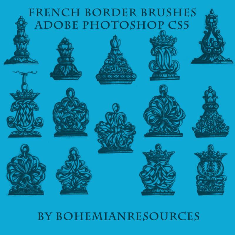 法式艺术花纹装饰图案PS笔刷素材 艺术花纹笔刷  flowers brushes