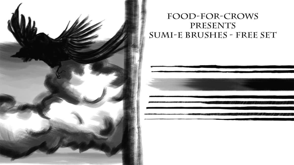 灰色调的水墨笔触、水彩画笔Photoshop笔刷素材 水彩笔刷 水墨笔刷  photoshop brush