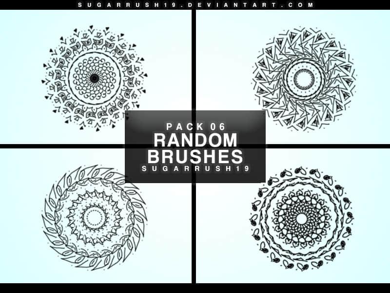 4种旋转对称花纹图案PS笔刷素材 旋转对称花纹笔刷  flowers brushes