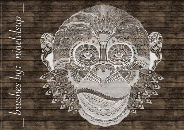 漂亮的黑猩猩猴子花纹图案PS笔刷素材 黑猩猩笔刷 猴子笔刷  adornment brushes