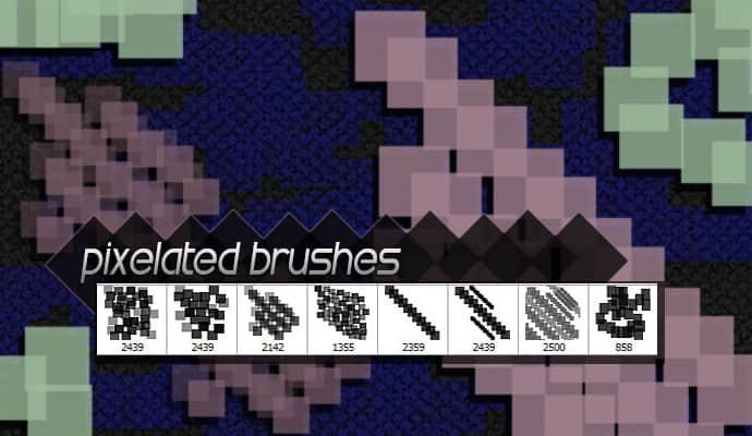 8个免费高分辨率的像素化Photoshop笔刷下载 高清笔刷 像素化笔刷  adornment brushes