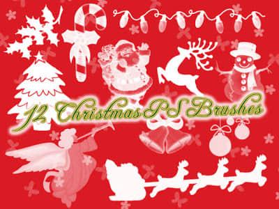 欢乐的圣诞节装扮元素图案Photoshop笔刷素材下载 圣诞节笔刷  adornment brushes