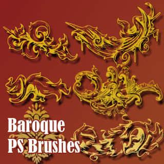 巴洛克式花纹图案Photoshop笔刷装饰素材 艺术花纹笔刷 植物花纹笔刷 巴洛克式花纹笔刷  flowers brushes