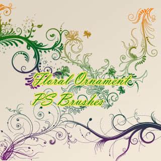 优雅的植物艺术花纹花卉图案Photoshop印花笔刷素材下载 艺术花纹笔刷 植物花纹笔刷  flowers brushes