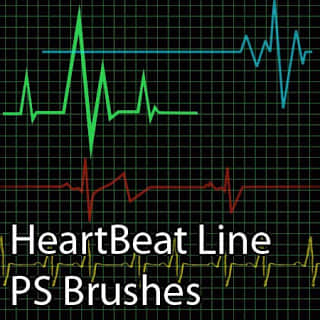 心跳图、心率波动图Photoshop笔刷素材 心跳笔刷 心跳图笔刷 心率笔刷  characters brushes