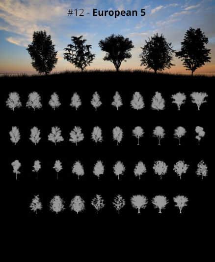 37种高级树荫、大树剪影效果Photoshop笔刷素材下载 树荫笔刷 树木剪影笔刷 大树笔刷 剪影笔刷  plants brushes