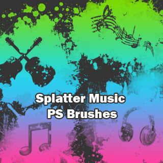 非主流油漆喷溅效果音乐元素符号Photoshop装饰笔刷 音乐元素笔刷  adornment brushes