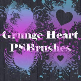 酷非主流爱心图案、情人节心形Photoshop笔刷素材 爱心笔刷 情人节笔刷 心形笔刷 七夕节笔刷  love brushes