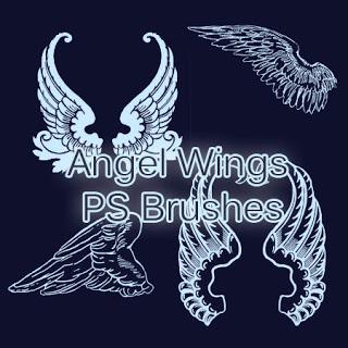 手绘天使羽翼翅膀Photoshop笔刷素材下载 手绘翅膀笔刷 天使翅膀笔刷  wings brushes