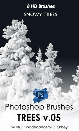 8种高清雪松、雾凇图形Photoshop笔刷素材 雾凇笔刷 雪松笔刷  plants brushes
