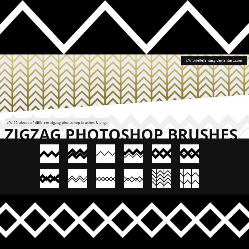 锯齿状分割线符号纹理PS笔刷素材 锯齿状纹理笔刷  adornment brushes