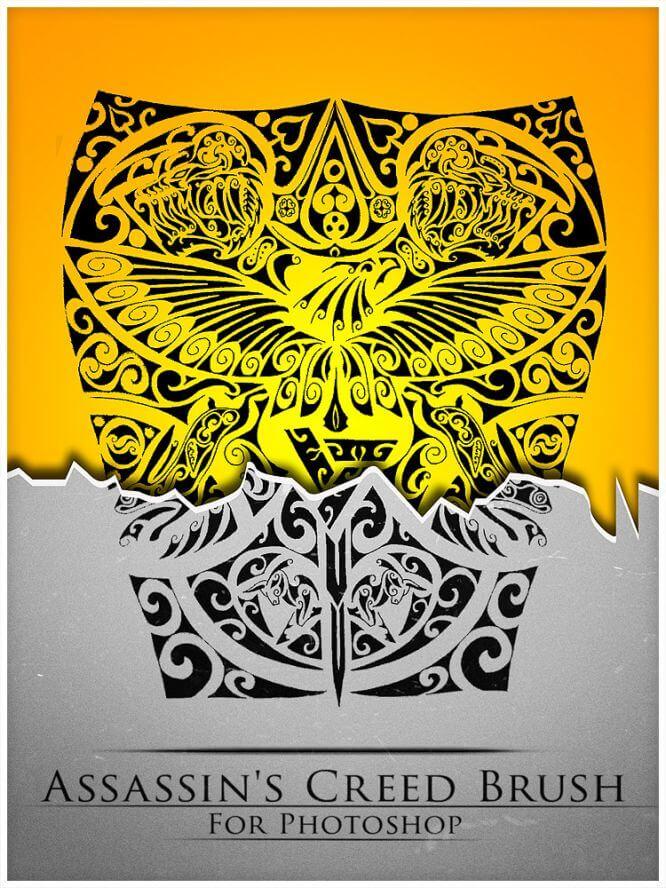 老鹰和老虎图腾图案、部落宗教印记PS神秘图案笔刷 纹饰笔刷 纹身笔刷 宗教图案笔刷 图腾笔刷  adornment brushes