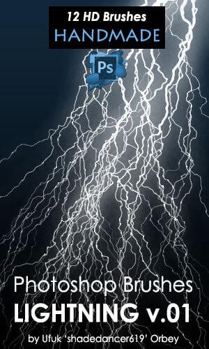 恐怖闪电雷电效果PS笔刷素材下载 雷电笔刷 闪电笔刷  lightning brushes light brushes
