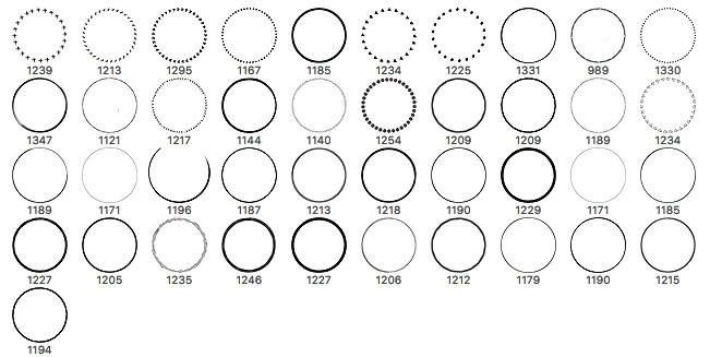 40种不同风格的圆圈造型PS笔刷素材 圆圈笔刷  other brushes