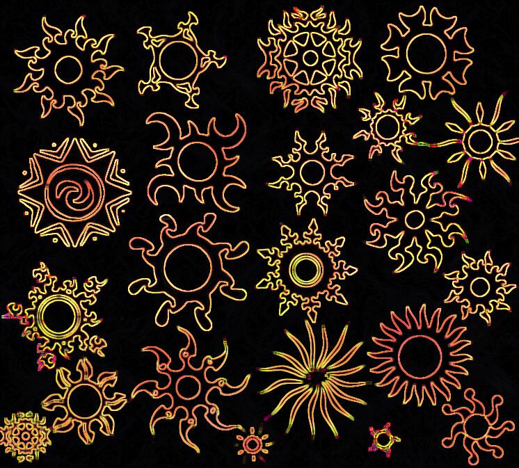 漂亮而又神秘的太阳花纹、太阳图案印记PS笔刷素材 太阳花纹笔刷  flowers brushes
