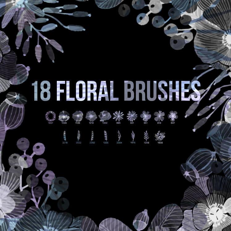 18种水彩是手绘花朵、鲜花、叶子PS笔刷素材下载 鲜花笔刷 花朵笔刷 叶子笔刷  plants brushes