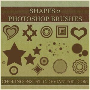 爱心、心形、同心圆、无限方框、星星等图案PS装饰笔刷 爱心笔刷 星星笔刷  adornment brushes symbols brushes