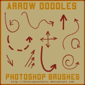 可爱手绘涂鸦箭头标记Photoshop笔刷素材下载 箭头笔刷  symbols brushes