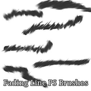衰变的线条涂痕Photoshop笔刷素材