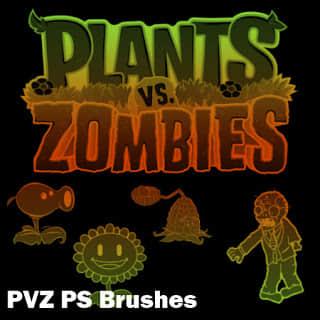 植物大战僵尸图形元素Photoshop笔刷素材下载