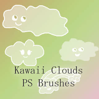 可爱的卡哇伊云朵Photoshop呆萌白云笔刷 白云笔刷 呆萌笔刷 可爱笔刷 卡通云笔刷  cloud brushes