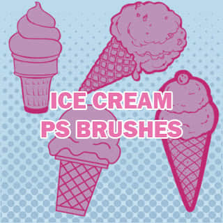 可爱卡通冰淇淋甜筒Photoshop笔刷素材