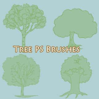大树、树木卡通造型图案Photoshop笔刷素材下载