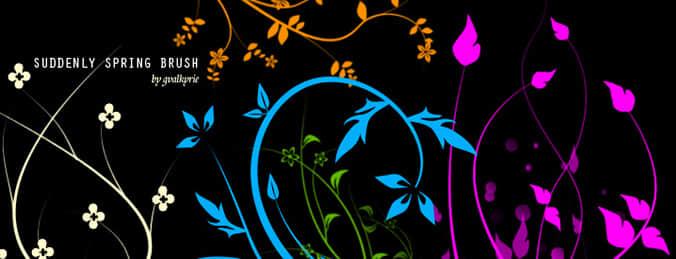 彩色花芽笔刷