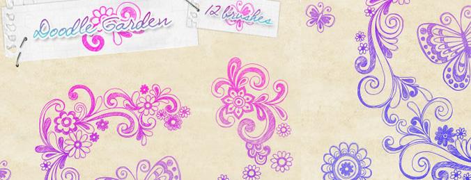 彩色花纹笔刷