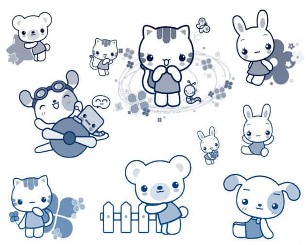 可爱泰迪熊笔刷