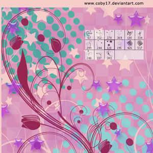 星星枝条花纹背景笔刷