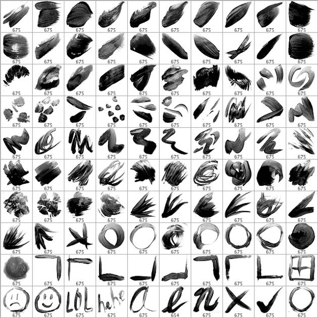 100个基本颜料画笔笔刷
