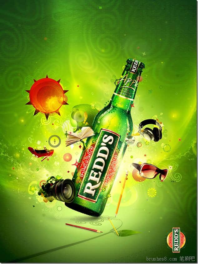 10个ps酒瓶广告设计参考