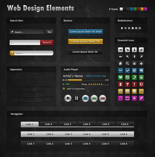 网页设计元素PSD素材-黑色系列