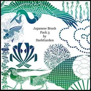 日本式鸟类风景笔刷