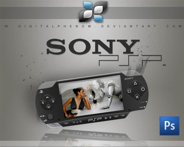 PSP游戏机psd模板