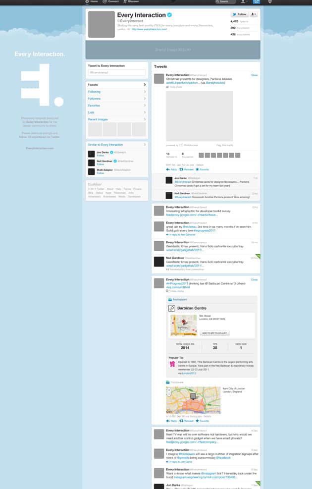新版Twitter个人资料网站PSD分层模版免费下载