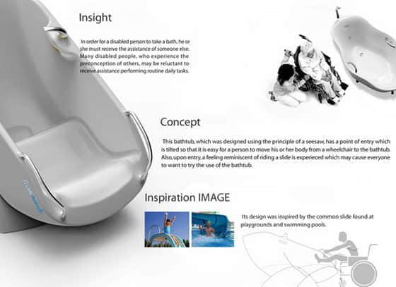 国外轮椅式新概念浴缸设计