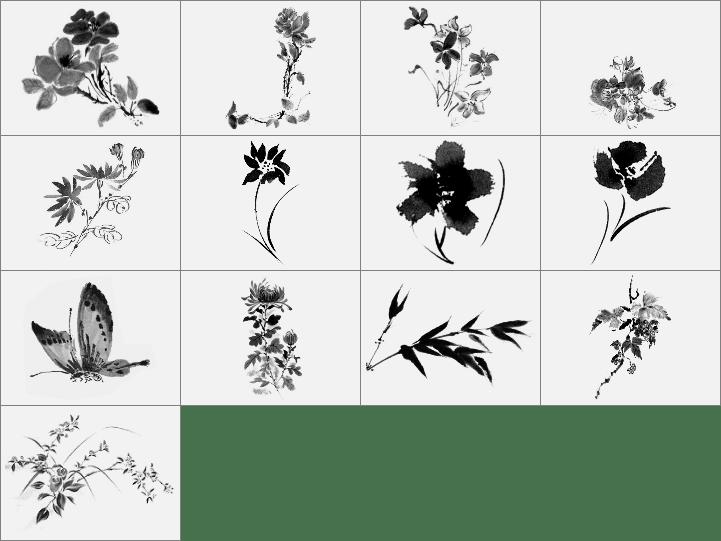 水彩中国水墨画式花草笔刷