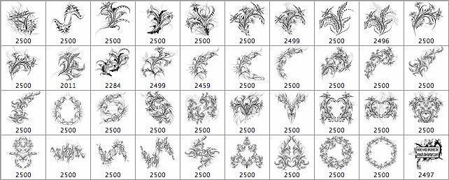 39种免费炫动的流光火焰花纹笔刷